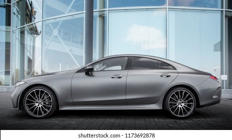 Chelyabinsk, Russia - September 1, 2018: New Mercedes CLS 2018 in the Parking lot of the official dealer