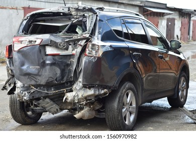 Chelyabinsk, Russia-April 29, 2018: a wrecked car after an accident stands near a garage in a queue for repairs