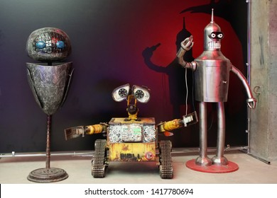 "Chelyabinsk, Russian Federation - June 4, 2019: robot exhibition ""I love robots"", iron mock robots WALL-E robot toy character shape WALL-E animated film disney Pixar"