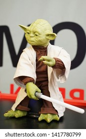Chelyabinsk, Russian Federation - June 4, 2019: robot exhibition, Jedi Council Grand master Yoda the hero of the star wars film""