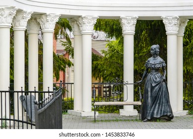 Chelyabinsk, Russian Federation - June 5, 2019, monument to Alexander Pushkin's wife Natalia Goncharova which is located in the Pushkin Park of Chelyabinsk, Russia