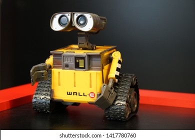Chelyabinsk , Russian Federation-June 4, 2019: robot exhibition , robot WALL-E robot toy character sheet WALL-E animated film disney Pixar
