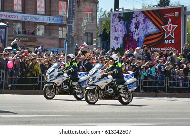 CHELYABINSK,RUSSIA - MAY 9,2016:Police motorcycles in the parade dedicated to the celebration of the Victory may 9, 1945