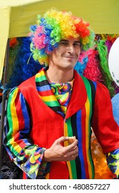 CHELYABINSK,RUSSIA - SEPTEMBER 4,2010:a Man with a clown suit on a city holiday