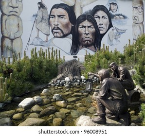 CHEMANIUS, BRITISH COLUMBIA - MAY 21, 2008: World famous murals and sculptures celebrating the Cowichan People, were created in 1980's in town of Chemanius. May 21, 2008, Vancouver Island, B.C. Canada