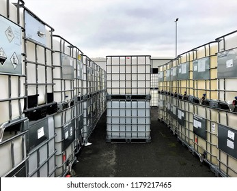 Chemcial IBC Container on a storage site