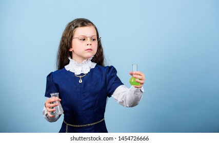 Chemical analysis. School chemistry lesson. Education concept. Chemistry and biology. Girl school study chemical liquids. Genetically modified organism. Exploring environment. School laboratory.