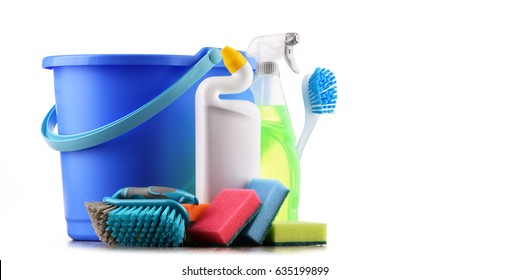 Chemical cleaning supplies isolated on white.