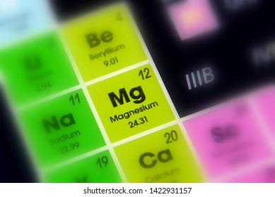 chemical element Magnesium with the symbol Mg and atomic number 12.