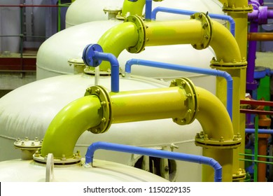 Chemical factory. Industrial equipment. Gas-pipe.