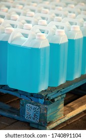 chemical factory producing bulk hand sanitizer in 5 liters plastic containers