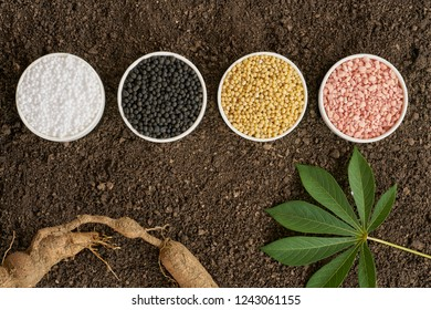 Chemical fertilizer [urea ,diammonium phosphate , muriate of Potash] on soil background.
