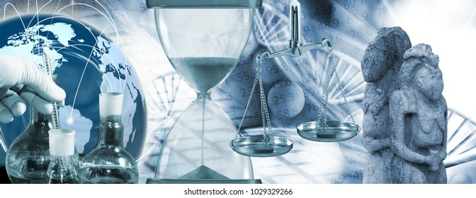 chemical flasks, hand in glove, hourglass, ancient statues on abstract biotechnological background
