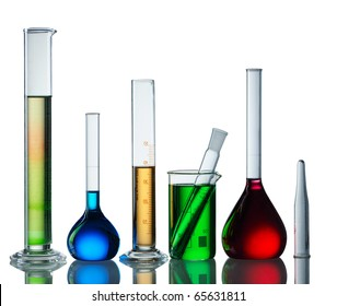 Chemical flasks with reagents isolated on white background