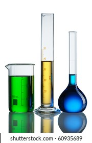 Chemical flasks with reagents over white