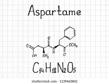 Chemical formula of Aspartame. Close-up.