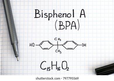 Chemical formula of Bisphenol A (BPA) with black pen. Close-up.