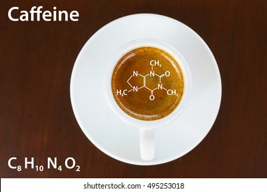 Chemical formula of Caffeine in cup of espresso crema, top view.