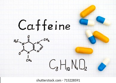 Chemical formula of Caffeine with some pills. Close-up.