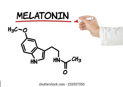 Chemical formula of melatonin on a white background