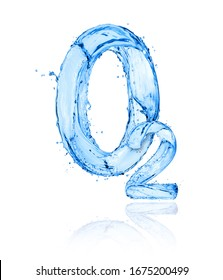 Chemical formula of oxygen made of water splashes on a white background