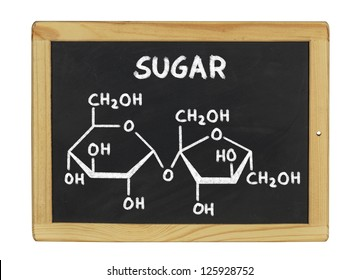 chemical formula of sugar on a blackboard