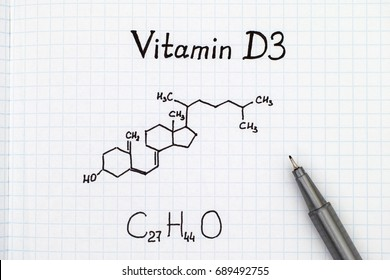 Chemical formula of Vitamin D3 with black pen.