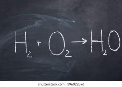 Chemical formula of water drawn on blackboard by chalk