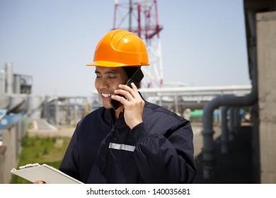 Chemical industrial engineer communication via phone