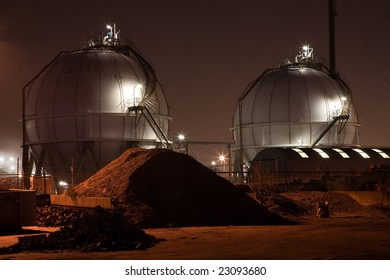 Chemical Industrial Plant at Night