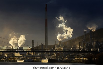 Chemical Industries Generating Pollution Some Chimneys Stock Photo