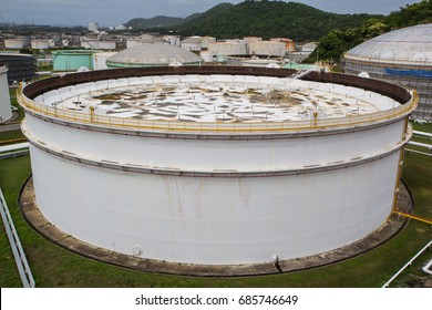 Chemical industry with fuel storage tank floating roof.