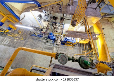 Chemical industry plant with pipes and valves
