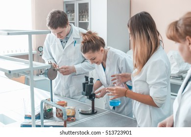 CHEMICAL LABORATORY, EUROPE - MARCH 25, 2016: students biologists and chemists into the laboratory.