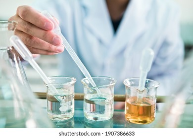 Chemical laboratory, staff holding chemical flasks and looking at the beaker