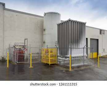 Chemical and liquid nitrogen storage tanks