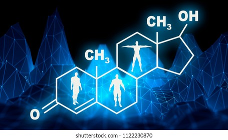 Chemical molecular formula hormone testosterone. Infographics illustration. Man silhouette. Low poly mountains landscape backdround. 3D rendering