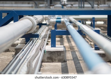 Chemical pipe line in process area of chemical refinery plant