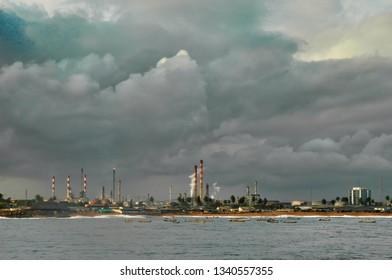 chemical plant before entering in abidjan harbour