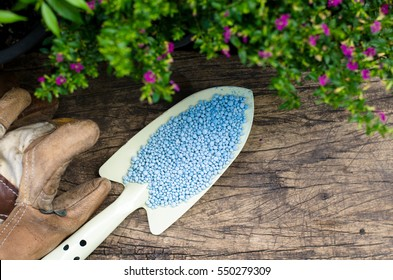 Chemical plant fertilizer with agriculture tools for gardening on wood background