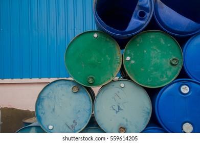 Chemical Plant, Plastic Storage Drums, Blue Barrels,Oil tank