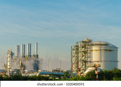 Chemical plant with sky background