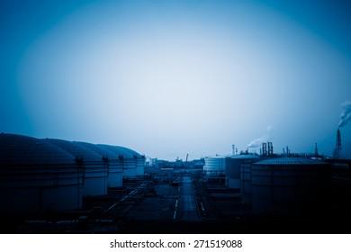 chemical plant, toned iamges, zhaijiang china.
