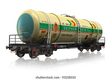 Chemical railroad tank car isolated on white reflective background