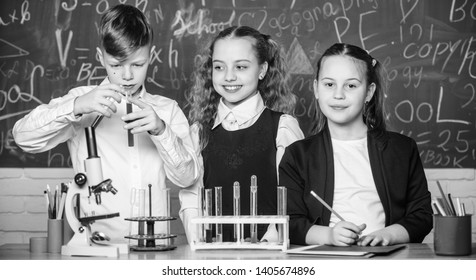 Chemical reaction occurs when substance change into new substances. Pupils study chemistry in school. Chemical substance dissolves in another. Kids enjoy chemical experiment. Exploring is so exciting.