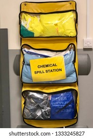 Chemical Spill management kit on wall of a hospital to deal with emergencies.
