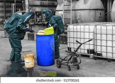 Chemical spill pollution at factory . Hazard emergency response concept . Oil spill pollution response  team .
