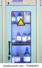 Chemical storage cabinets with hood. Used in chemistry labs.