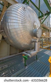Chemical tank with insulation in chemical refinery plant