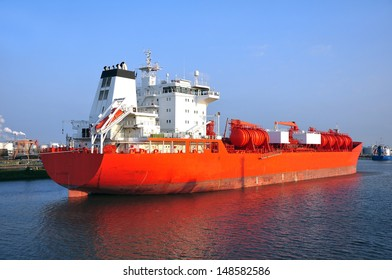 chemical tanker during loading operation  in the port